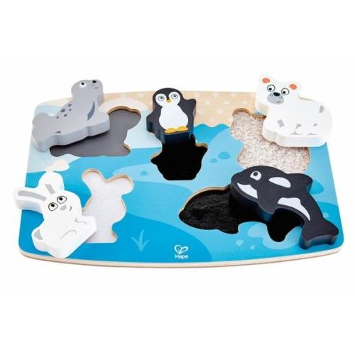 hape tapintos puzzle sarkvideki allatok