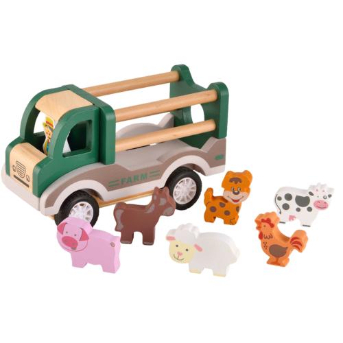 Fa hártahúzhatós farm autó állatokkal - Magni