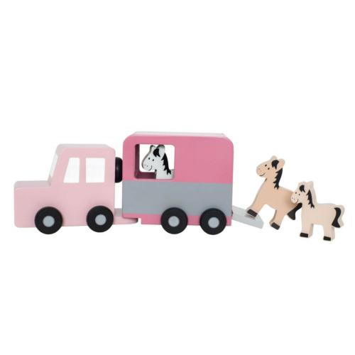 Fa lószállító autó pasztell rózsaszín - Jabadabado