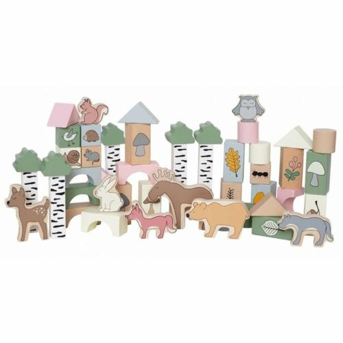 50 darabos fa építőkocka készlet Az erdő állatai - Jabadabado