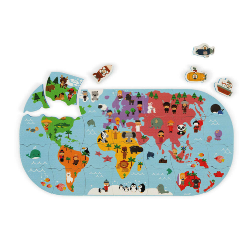 Falra ragasztható világtérkép puzzle - Janod