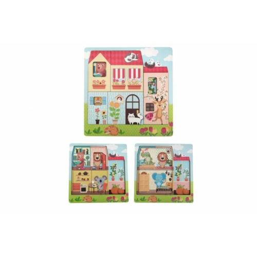 Réteges puzzle - Az állatok otthona - Magni